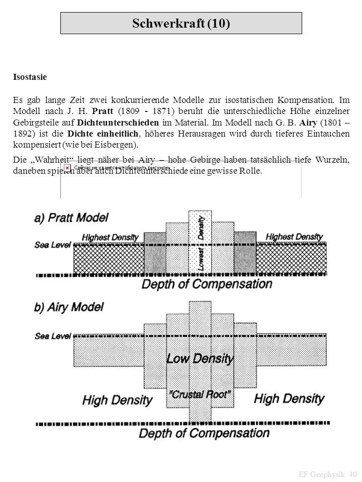 Schwerkraft (10) EF Geophysik 40 Isostasie Es gab lange Zeit zwei konkurrierende Modelle zur isostatischen Kompensation. Im Modell nach J. H. Pratt (1