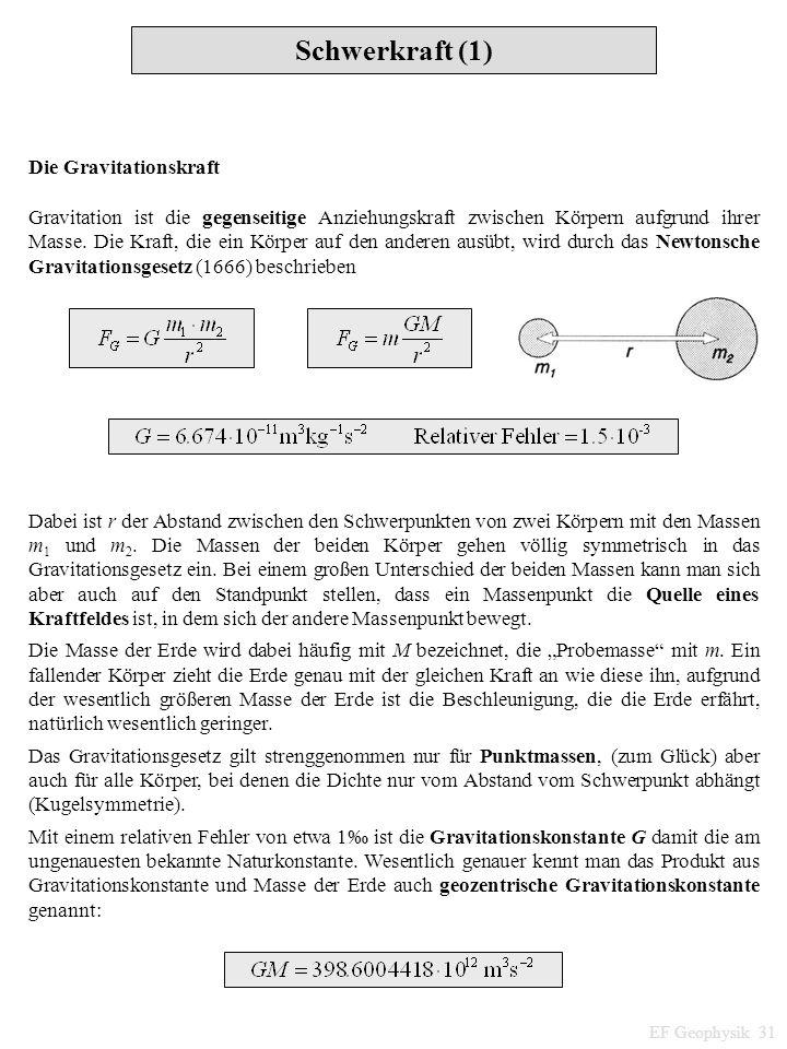 Schwerkraft (1) EF Geophysik 31 Die Gravitationskraft Gravitation ist die gegenseitige Anziehungskraft zwischen Körpern aufgrund ihrer Masse. Die Kraf