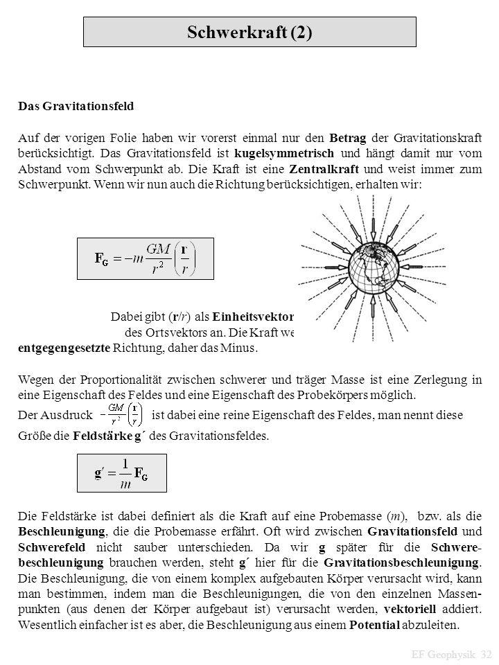 Schwerkraft (2) EF Geophysik 32 Das Gravitationsfeld Auf der vorigen Folie haben wir vorerst einmal nur den Betrag der Gravitationskraft berücksichtig