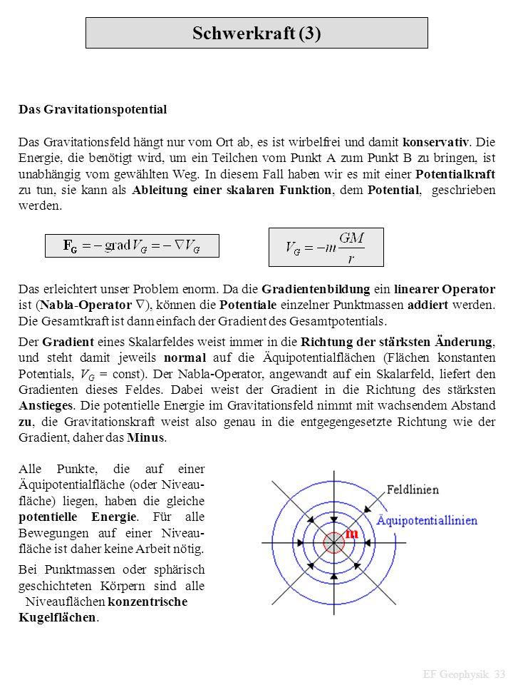 Schwerkraft (3) EF Geophysik 33 Das Gravitationspotential Das Gravitationsfeld hängt nur vom Ort ab, es ist wirbelfrei und damit konservativ. Die Ener