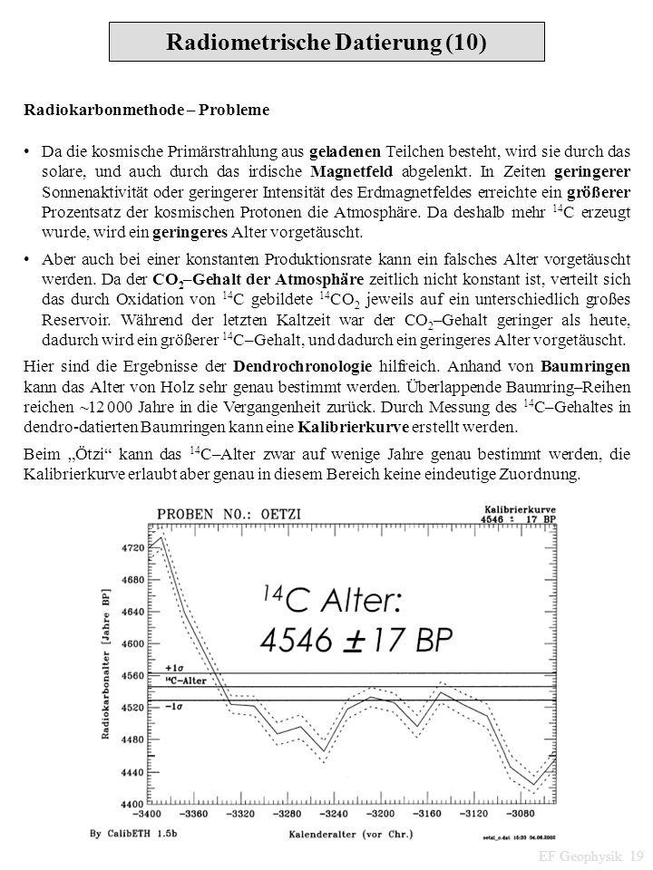 Radiokarbonmethode – Probleme Da die kosmische Primärstrahlung aus geladenen Teilchen besteht, wird sie durch das solare, und auch durch das irdische