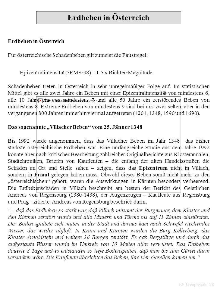 EF Geophysik 58 Erdbeben in Österreich Für österreichische Schadenbeben gilt zumeist die Faustregel: Epizentralintensität (°EMS-98) = 1.5 x Richter-Ma
