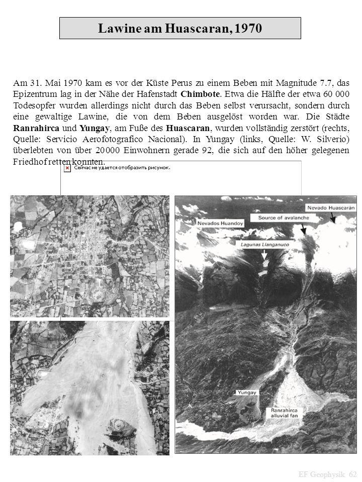 Am 31. Mai 1970 kam es vor der Küste Perus zu einem Beben mit Magnitude 7.7, das Epizentrum lag in der Nähe der Hafenstadt Chimbote. Etwa die Hälfte d