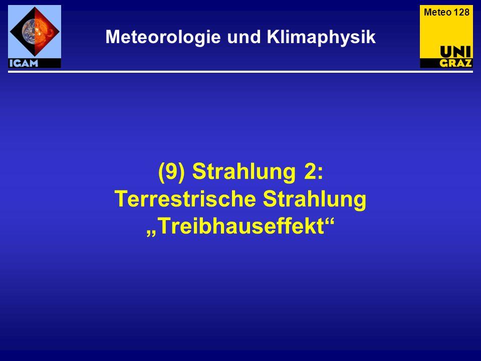 (9) Strahlung 2: Terrestrische Strahlung Treibhauseffekt Meteorologie und Klimaphysik Meteo 128