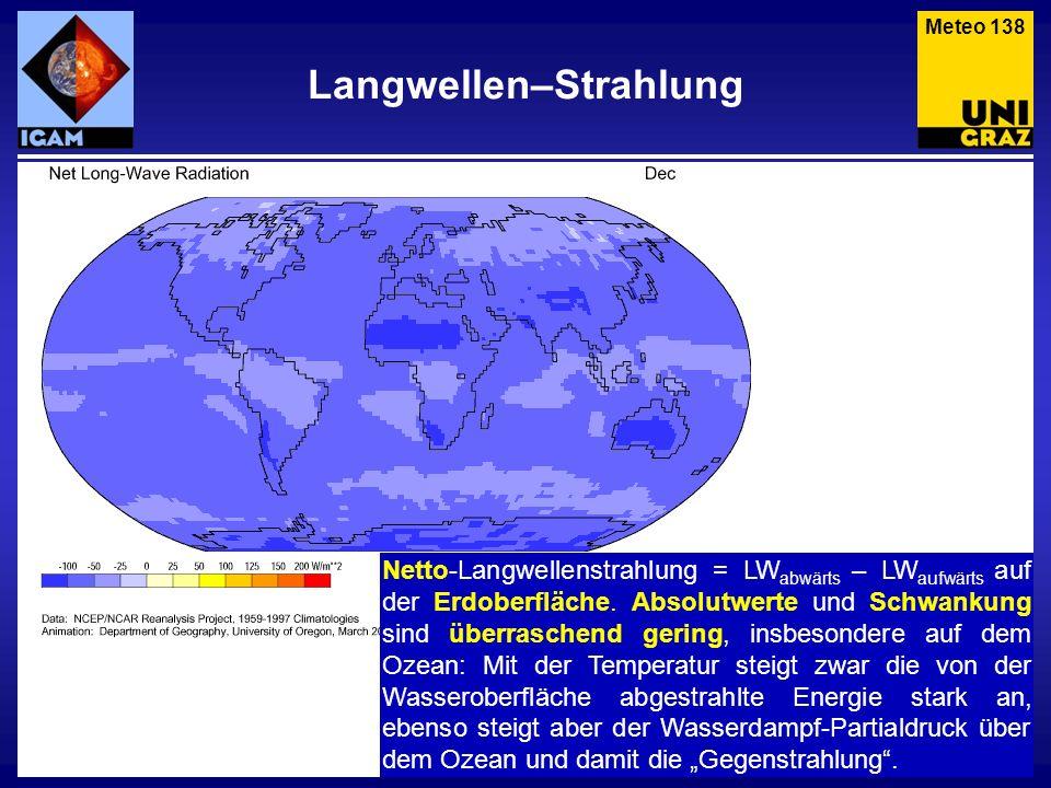 Langwellen–Strahlung Meteo 138 Netto-Langwellenstrahlung = LW abwärts – LW aufwärts auf der Erdoberfläche. Absolutwerte und Schwankung sind überrasche