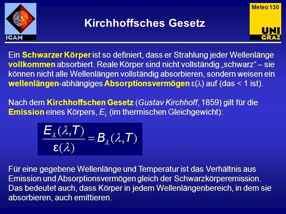 Kirchhoffsches Gesetz Meteo 131 Wir formen das Kirchhoffsche Gesetz um, und sehen: Reale Körper strahlen bei gegebener Temperatur weniger ab als Schwarze Körper (ε < 1).
