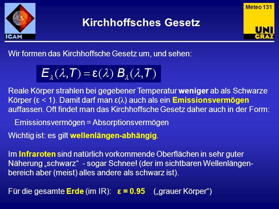 Kirchhoffsches Gesetz Meteo 131 Wir formen das Kirchhoffsche Gesetz um, und sehen: Reale Körper strahlen bei gegebener Temperatur weniger ab als Schwa