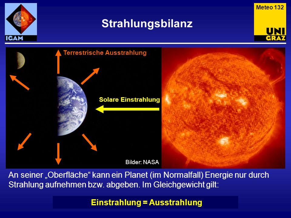 Strahlungsbilanz Meteo 132 An seiner Oberfläche kann ein Planet (im Normalfall) Energie nur durch Strahlung aufnehmen bzw. abgeben. Im Gleichgewicht g