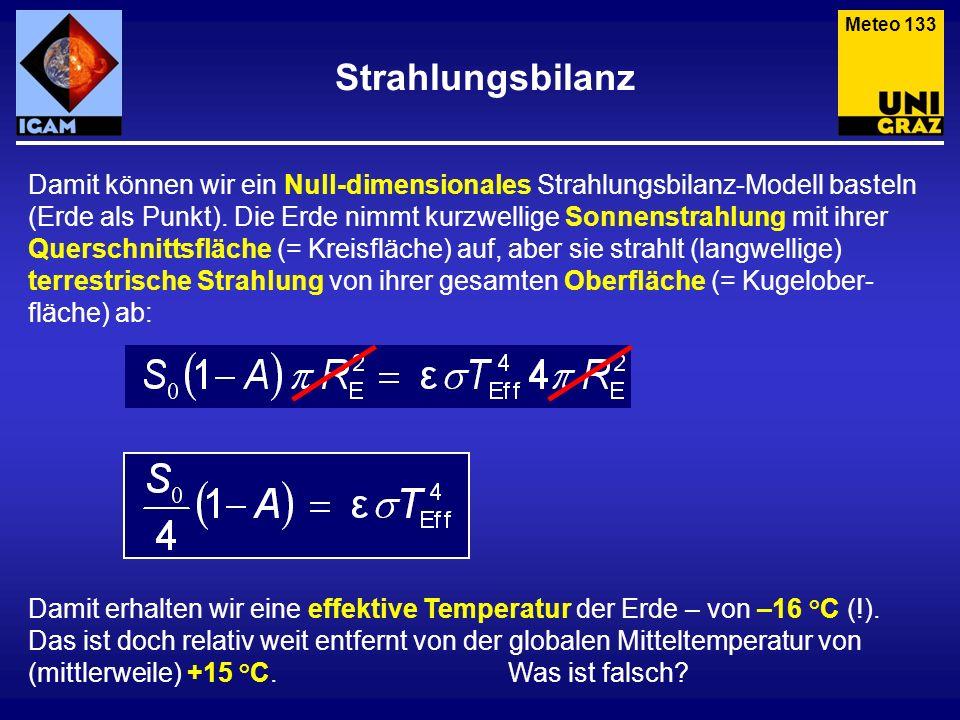 Strahlungsbilanz Meteo 133 Damit können wir ein Null-dimensionales Strahlungsbilanz-Modell basteln (Erde als Punkt). Die Erde nimmt kurzwellige Sonnen
