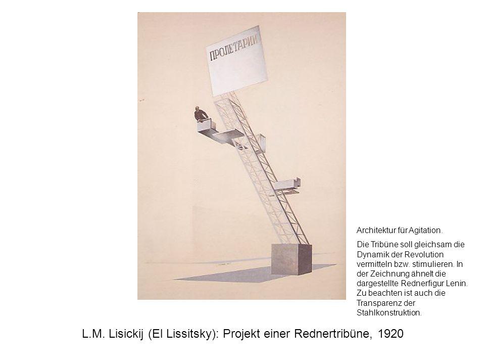 L.M. Lisickij (El Lissitsky): Projekt einer Rednertribüne, 1920 Architektur für Agitation. Die Tribüne soll gleichsam die Dynamik der Revolution vermi