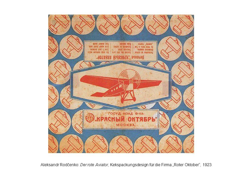 Aleksandr Rodčenko: Der rote Aviator, Kekspackungsdesign für die Firma Roter Oktober, 1923