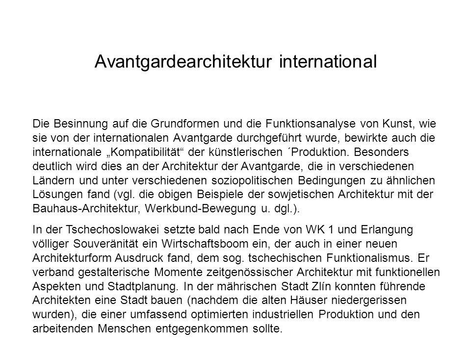 Avantgardearchitektur international Die Besinnung auf die Grundformen und die Funktionsanalyse von Kunst, wie sie von der internationalen Avantgarde d
