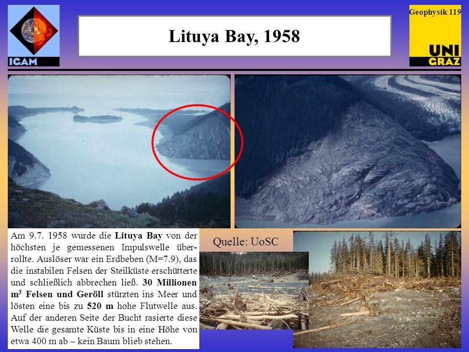 Eine latente Gefahr Ablagerungen am Meeresboden zeigen, dass es in der Vergangenheit um die Hawaii Inseln mehrfach zu gewaltigen Erdrutschen gekommen ist (links).