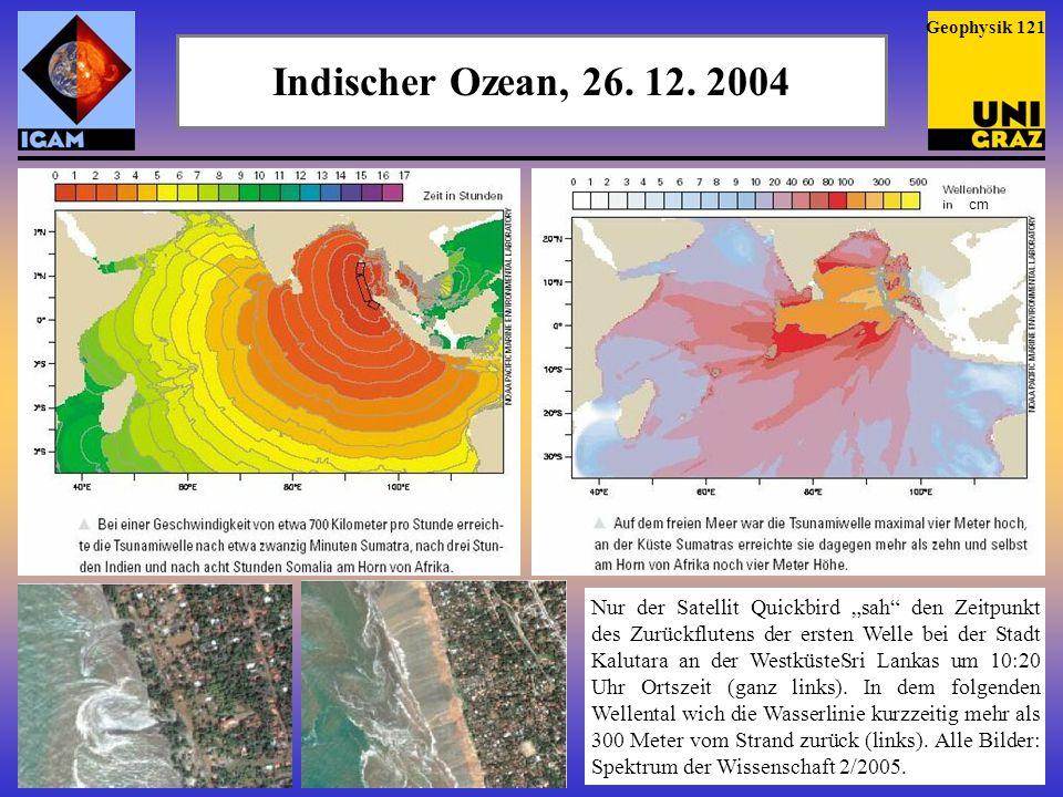 Indischer Ozean, 26.12. 2004 Messung der Wellenhöhe von Satelliten aus (Quelle: NOAA).