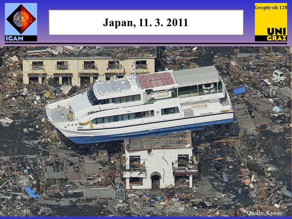 Japan, 11.3. 2011 Die Welle drang 5 km und mehr ins Landesinnere vor.