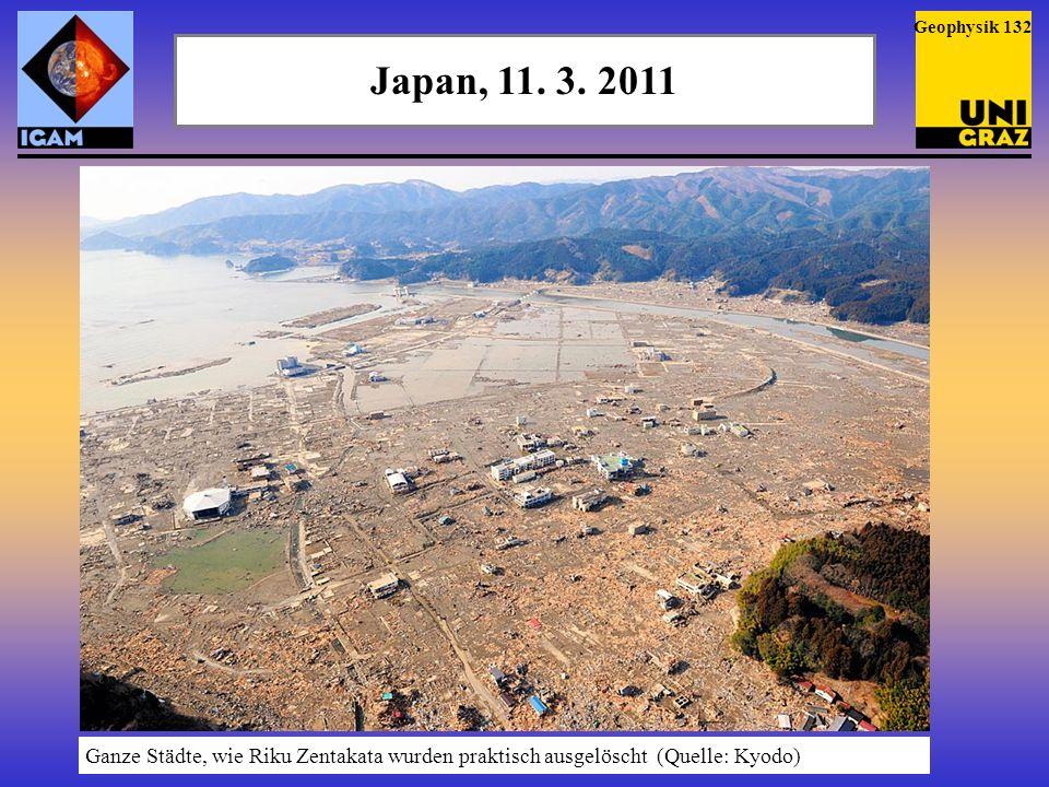Tsunami und Schwerewellen Von den Tsunami-Wellen wurden in der Atmosphäre Schwerewellen ausgelöst, die sogar (durch die dadurch in der Thermosphäre ausgelösten Dichte-Schwankungen) die Bahn des Satelliten GOCE deutlich messbar beeinflussten (Quelle: ESA) Geophysik 133