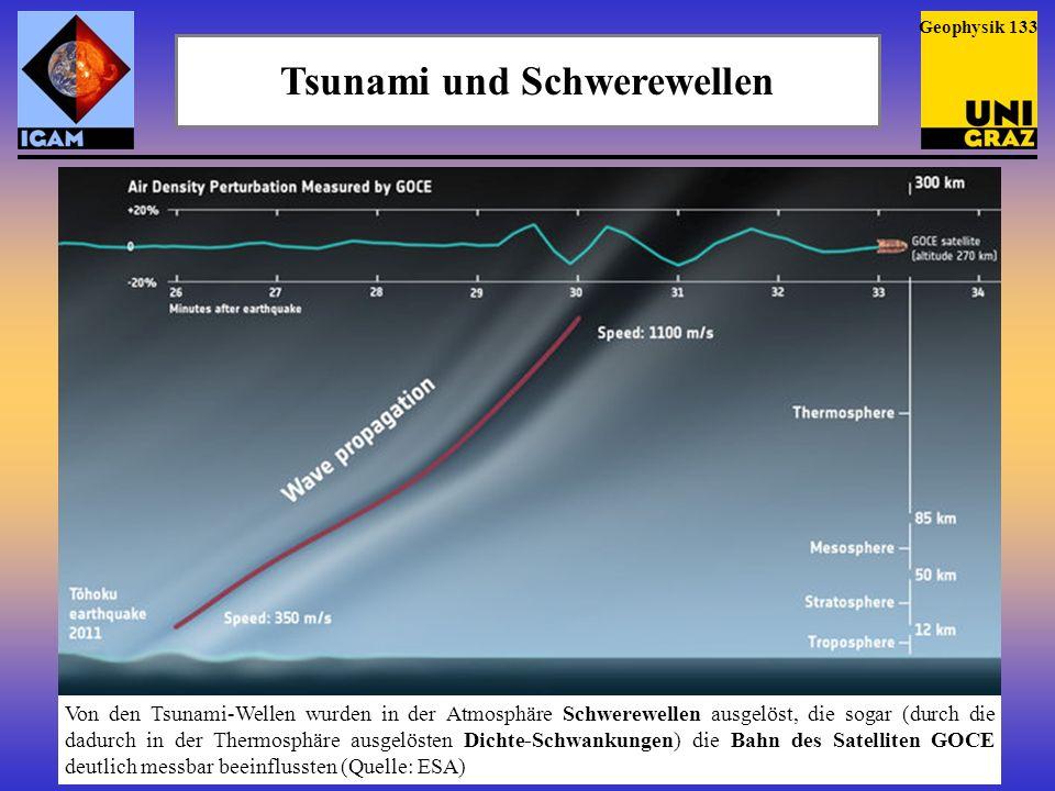 Tsunami, Schwerewellen und TIDs Die vom Tsunami ausgelösten Schwerewellen machten sich sogar noch in der Ionosphäre bemerkbar, wo sie Travelling Ionospheric Disturbances (TIDs) verursachten (Quelle: NASA) Geophysik 134