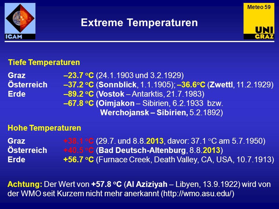 Extreme Temperaturen Meteo 59 Tiefe Temperaturen Graz–23.7 °C (24.1.1903 und 3.2.1929) Österreich–37.2 °C (Sonnblick, 1.1.1905); –36.6°C (Zwettl, 11.2