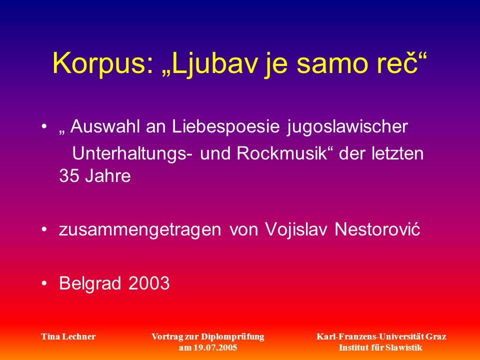 Karl-Franzens-Universität Graz Institut für Slawistik Tina LechnerVortrag zur Diplomprüfung am 19.07.2005 Korpus: Ljubav je samo reč Auswahl an Liebes