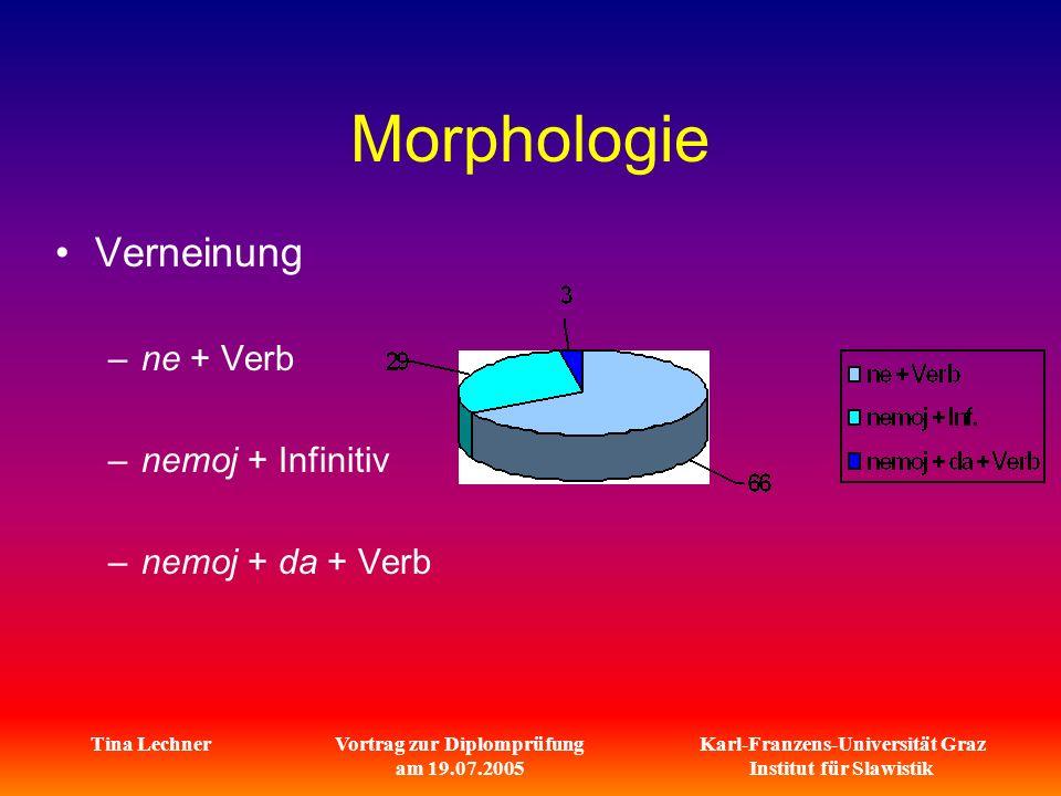 Karl-Franzens-Universität Graz Institut für Slawistik Tina LechnerVortrag zur Diplomprüfung am 19.07.2005 Morphologie Verneinung –ne + Verb –nemoj + Infinitiv –nemoj + da + Verb