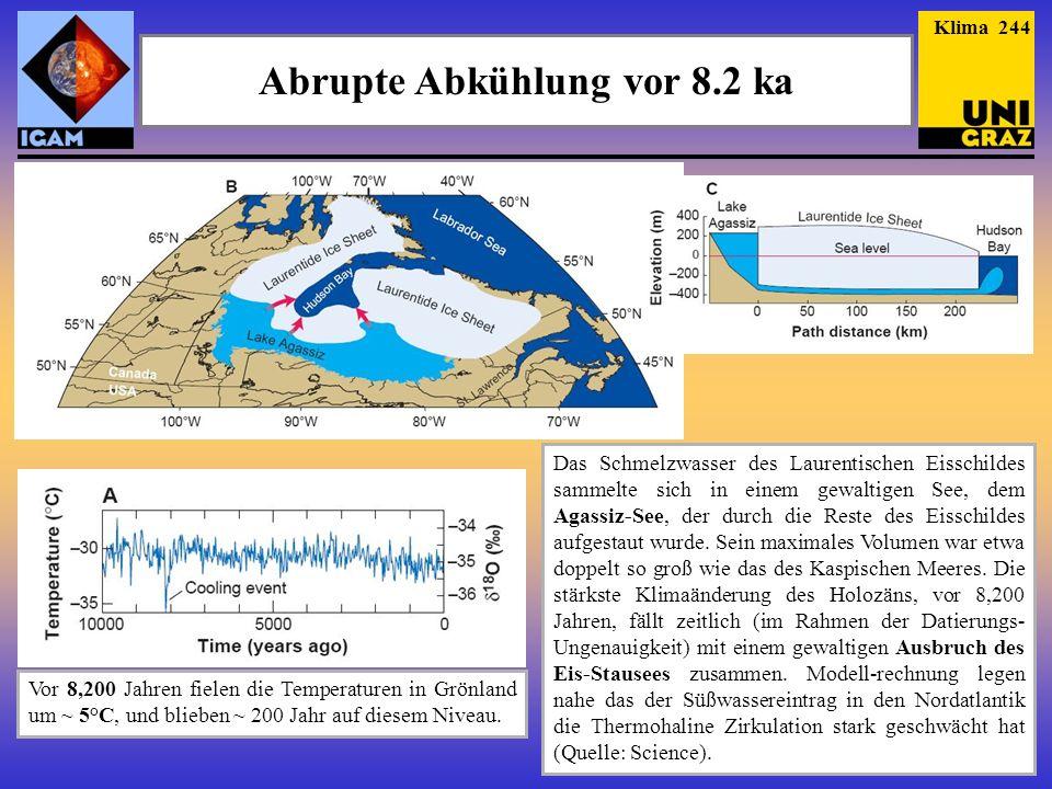 Abrupte Abkühlung vor 8.2 ka Das Schmelzwasser des Laurentischen Eisschildes sammelte sich in einem gewaltigen See, dem Agassiz-See, der durch die Reste des Eisschildes aufgestaut wurde.