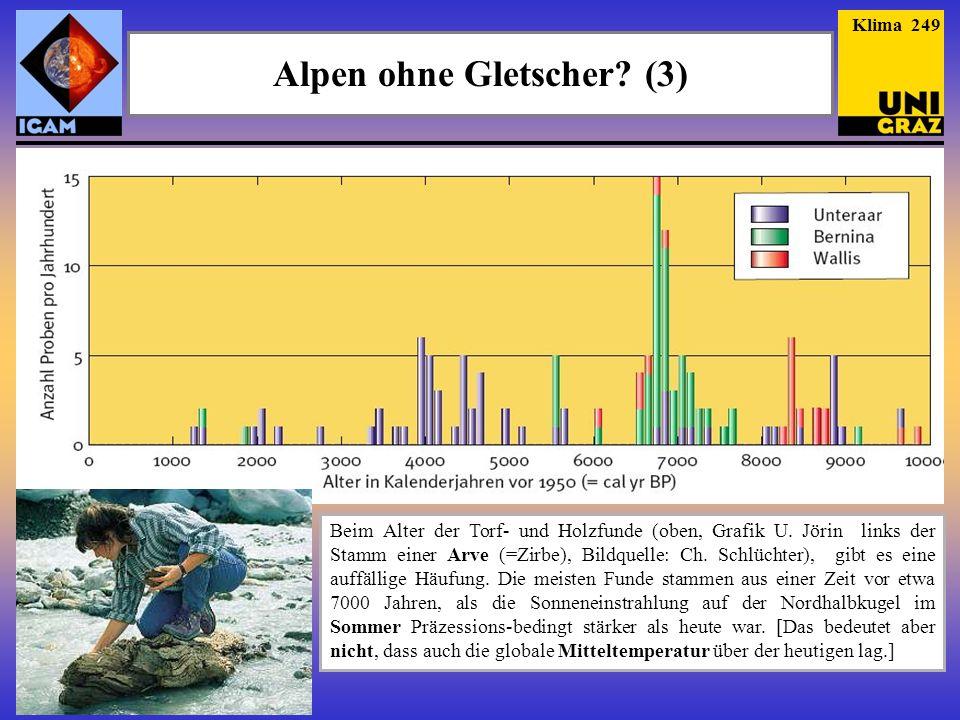 Alpen ohne Gletscher? (3) Klima 249 Beim Alter der Torf- und Holzfunde (oben, Grafik U. Jörin links der Stamm einer Arve (=Zirbe), Bildquelle: Ch. Sch