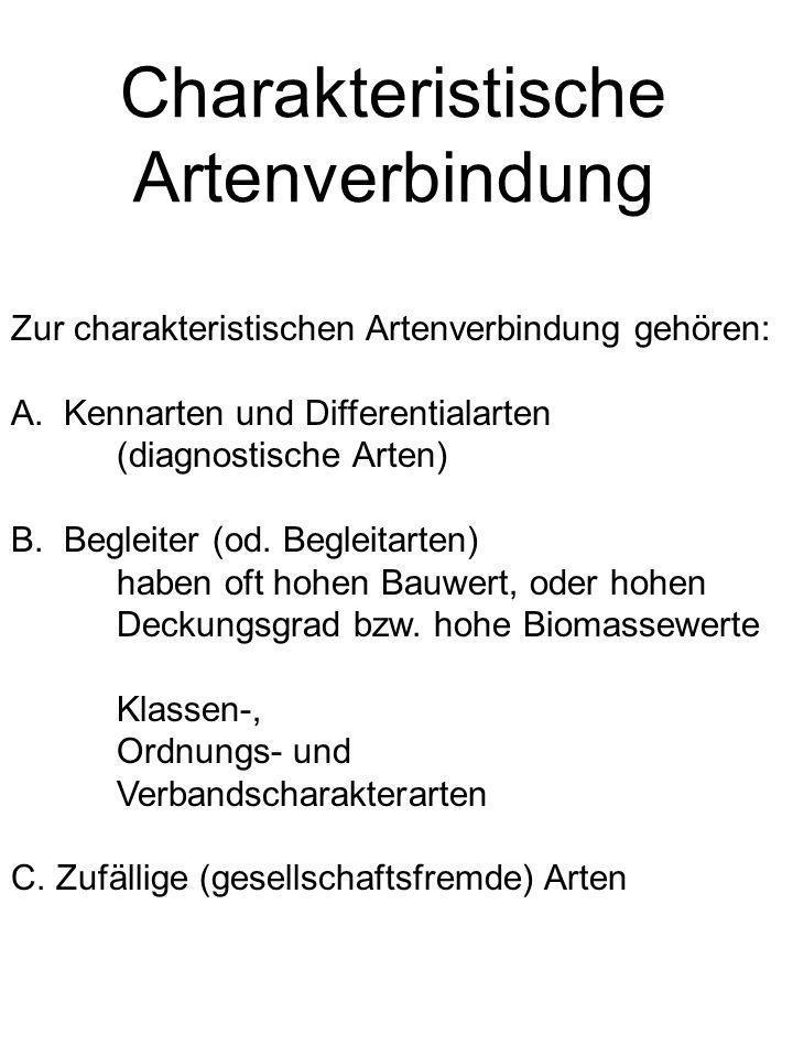Charakteristische Artenverbindung Zur charakteristischen Artenverbindung gehören: A. Kennarten und Differentialarten (diagnostische Arten) B. Begleite