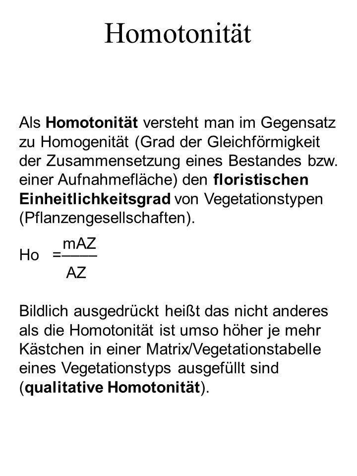 Homotonität Als Homotonität versteht man im Gegensatz zu Homogenität (Grad der Gleichförmigkeit der Zusammensetzung eines Bestandes bzw. einer Aufnahm