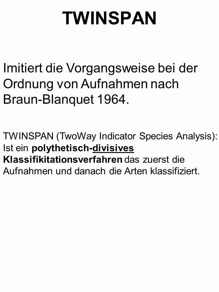 TWINSPAN Imitiert die Vorgangsweise bei der Ordnung von Aufnahmen nach Braun-Blanquet 1964. TWINSPAN (TwoWay Indicator Species Analysis): Ist ein poly