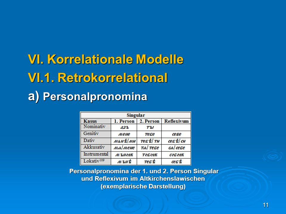 VI. Korrelationale Modelle VI.1. Retrokorrelational a) Personalpronomina Personalpronomina der 1. und 2. Person Singular Personalpronomina der 1. und