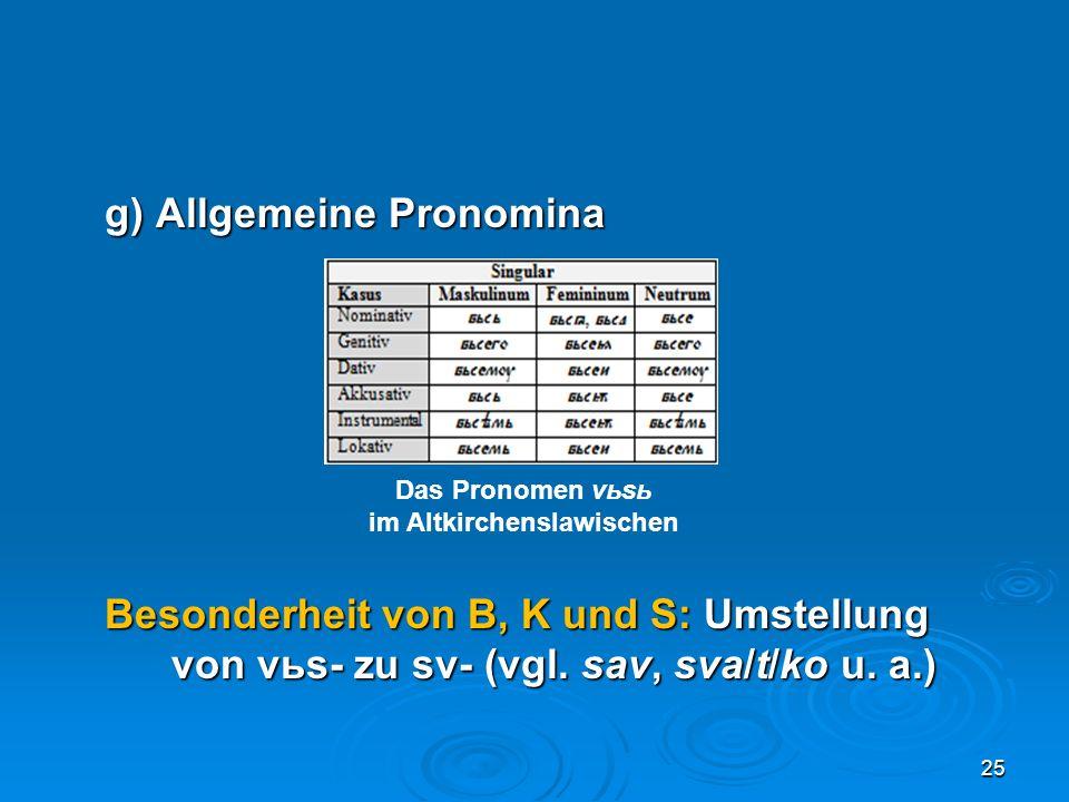 g) Allgemeine Pronomina Besonderheit von B, K und S: Umstellung von vьs- zu sv- (vgl. sav, sva/t/ko u. a.) 25 Das Pronomen vьsь im Altkirchenslawische