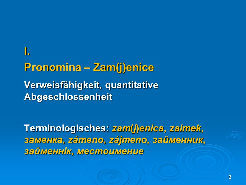 Personalpronomina – lične/osobne zam(j)enice und Reflexivpronomen – povratna zam(j)enica sebe Possessivpronomina – posvojne/prisvojne zam(j)enice Demonstrativpronomina – pokazne zam(j)enice Relativpronomina – odnosne zam(j)enice 4