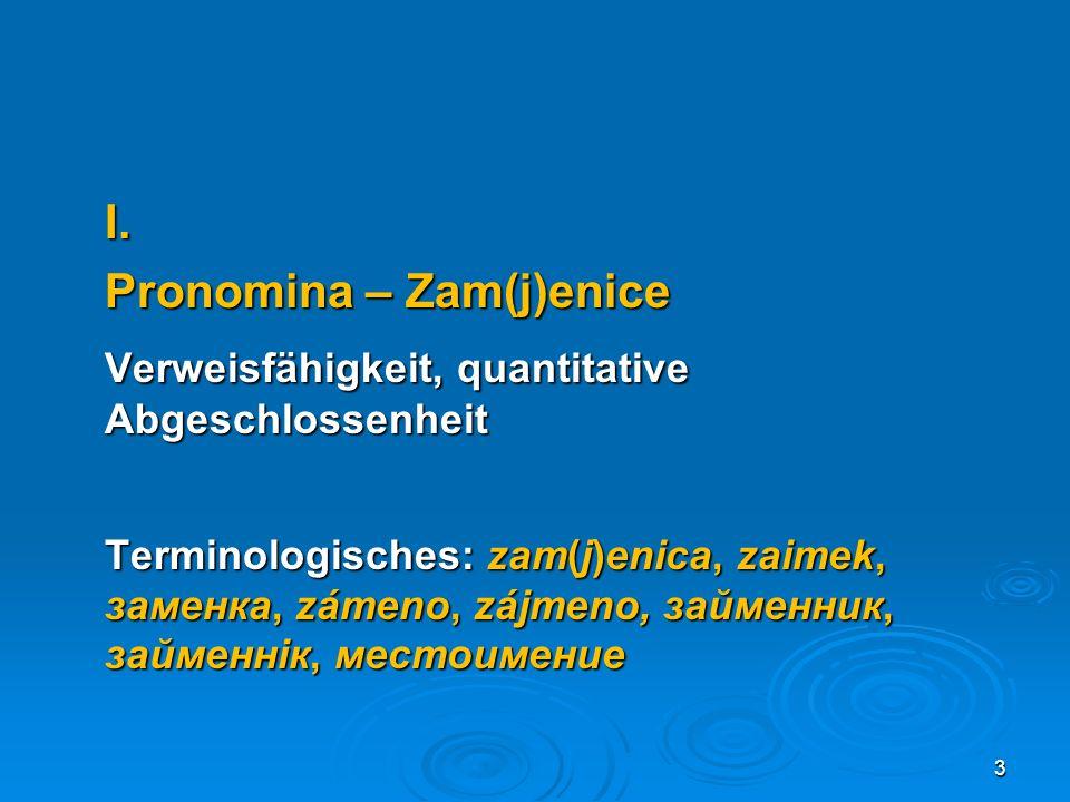 d) Interrogativpronomina ko/tko (Ostbosnien) šta/što (šta für was vs.