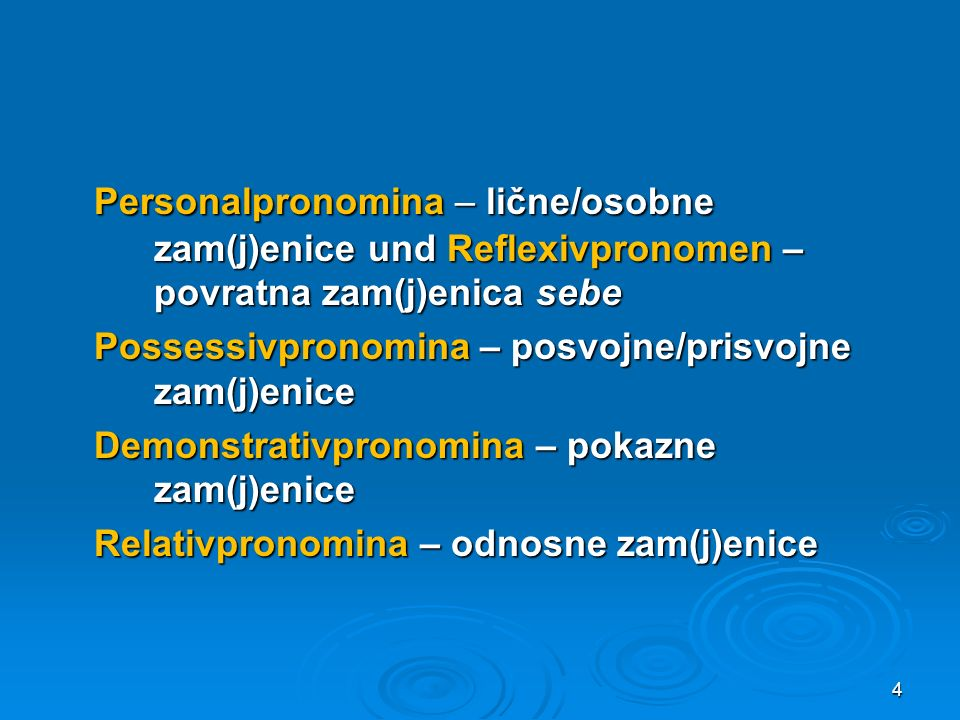 e) Indefinit- und Negationspronomina njeko, nješto (Ostbosnien) niko, ništo, nikoji (als Indefinita; Herzegowina) đekoi (generell) f) Allgemeine Pronomina sviju (Gen.