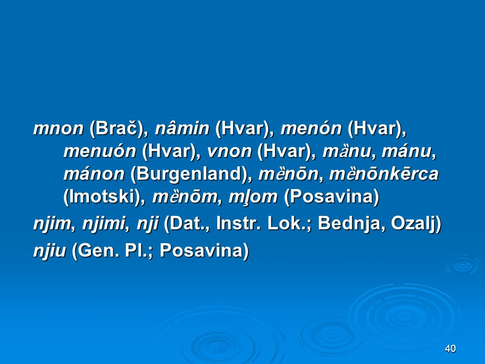 mnon (Brač), nâmin (Hvar), menón (Hvar), menuón (Hvar), vnon (Hvar), m ȁ nu, mánu, mánon (Burgenland), m ȅ nōn, m ȅ nōnkērca (Imotski), m ȅ nōm, mļom