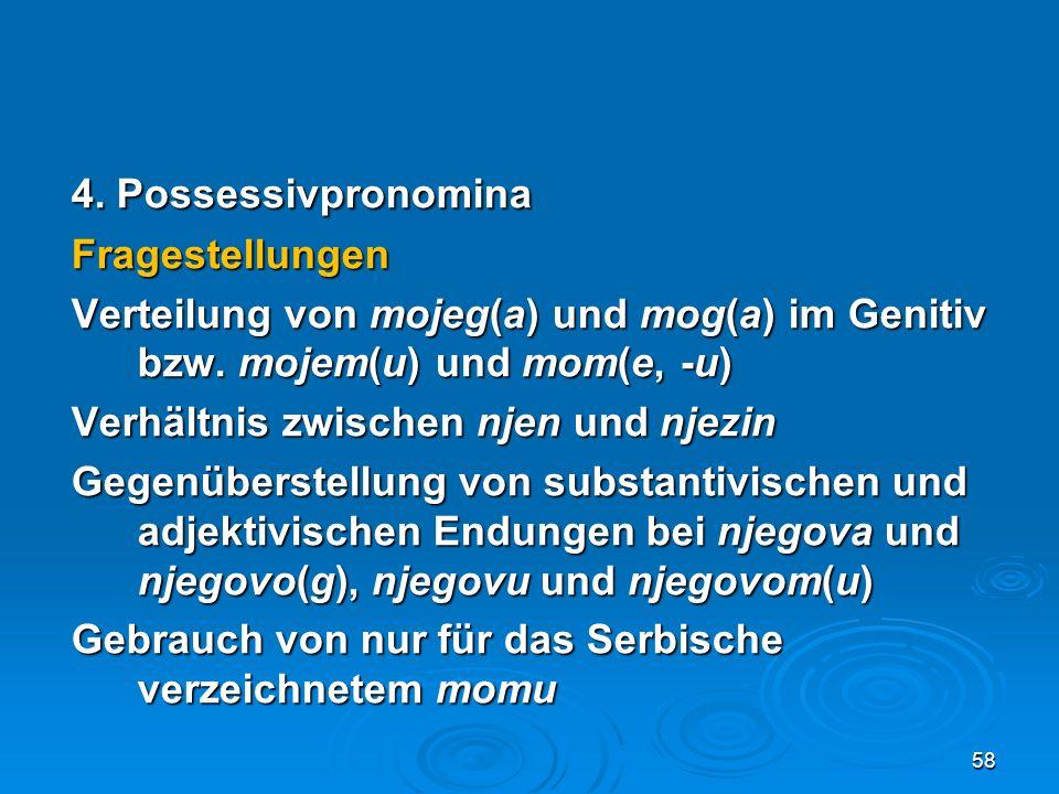 4. Possessivpronomina Fragestellungen Verteilung von mojeg(a) und mog(a) im Genitiv bzw. mojem(u) und mom(e, -u) Verhältnis zwischen njen und njezin G