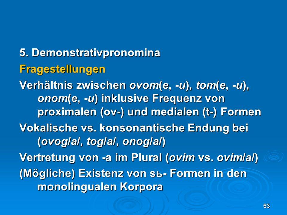 5. Demonstrativpronomina Fragestellungen Verhältnis zwischen ovom(e, -u), tom(e, -u), onom(e, -u) inklusive Frequenz von proximalen (ov-) und medialen