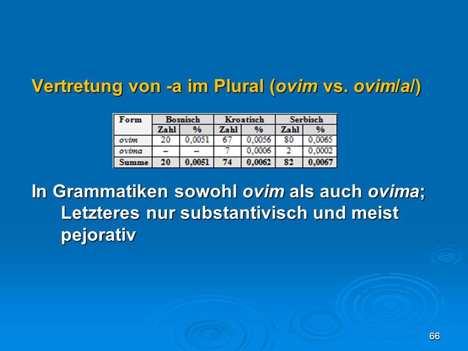 Vertretung von -a im Plural (ovim vs. ovim/a/) In Grammatiken sowohl ovim als auch ovima; Letzteres nur substantivisch und meist pejorativ 66