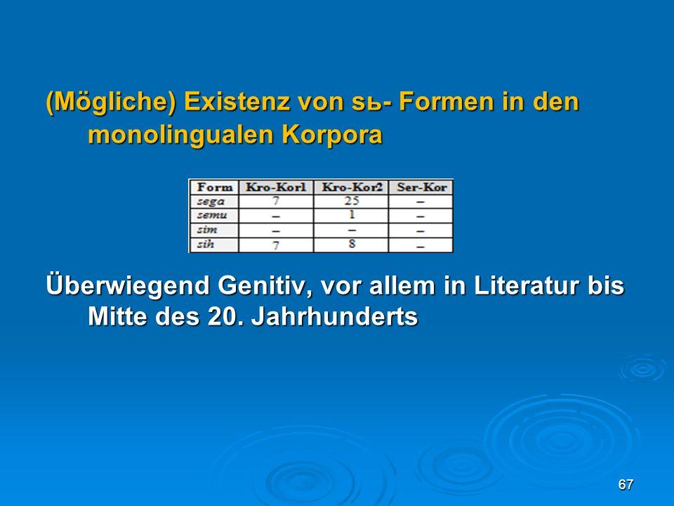(Mögliche) Existenz von sь- Formen in den monolingualen Korpora Überwiegend Genitiv, vor allem in Literatur bis Mittedes 20. Jahrhunderts 67
