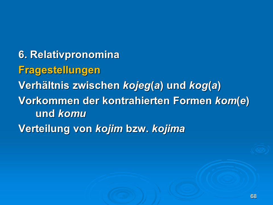 6. Relativpronomina Fragestellungen Verhältnis zwischen kojeg(a) und kog(a) Vorkommen der kontrahierten Formen kom(e) und komu Verteilung von kojim bz