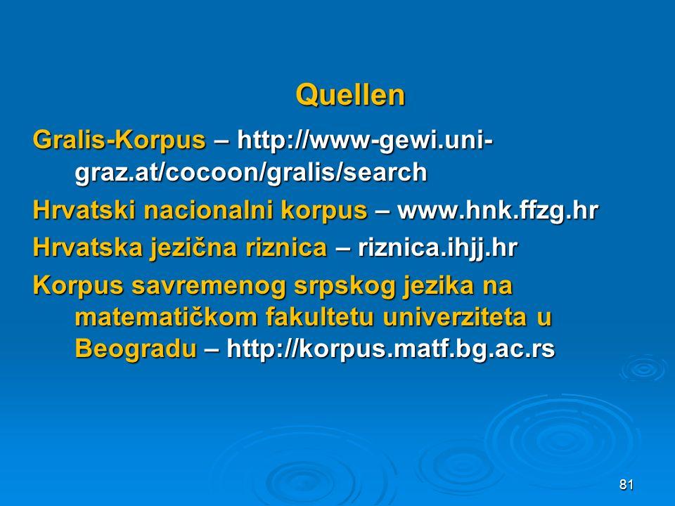 Quellen Gralis-Korpus – http://www-gewi.uni- graz.at/cocoon/gralis/search Hrvatski nacionalni korpus – www.hnk.ffzg.hr Hrvatska jezična riznica – rizn