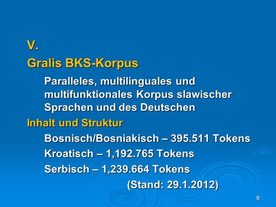 V. Gralis BKS-Korpus Paralleles, multilinguales und multifunktionales Korpus slawischer Sprachen und des Deutschen Inhalt und Struktur Bosnisch/Bosnia