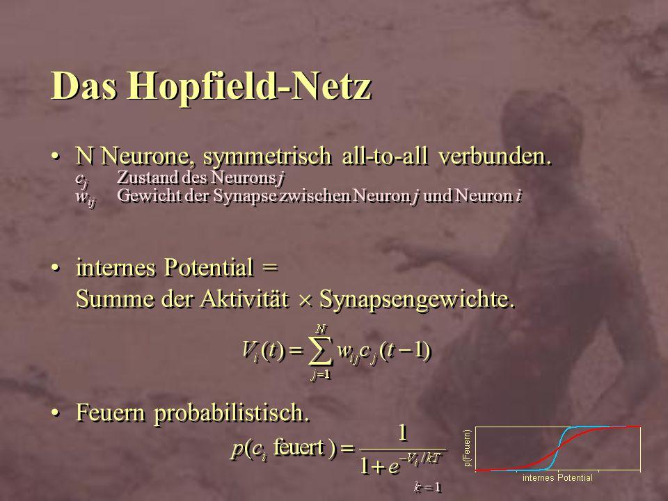 Das Hopfield-Netz N Neurone, symmetrisch all-to-all verbunden. c j Zustand des Neurons j w ij Gewicht der Synapse zwischen Neuron j und Neuron i Feuer
