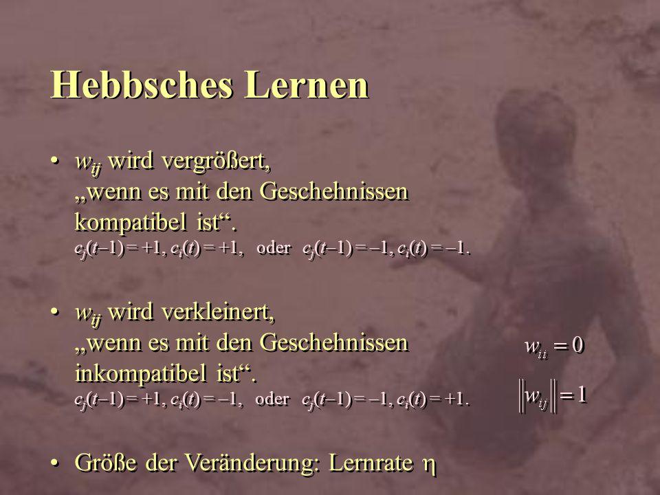 Hebbsches Lernen w ij wird vergrößert, wenn es mit den Geschehnissen kompatibel ist. c j (t 1) = +1, c i (t) = +1, oder c j (t 1) = –1, c i (t) = –1.