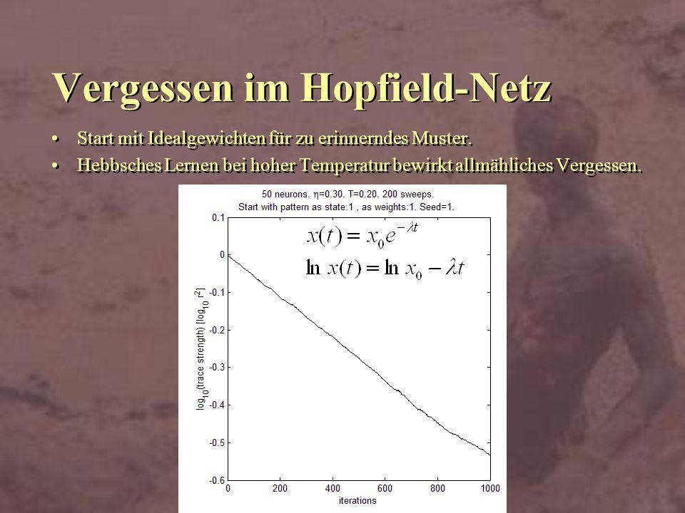 Vergessen im Hopfield-Netz Start mit Idealgewichten für zu erinnerndes Muster. Hebbsches Lernen bei hoher Temperatur bewirkt allmähliches Vergessen. S