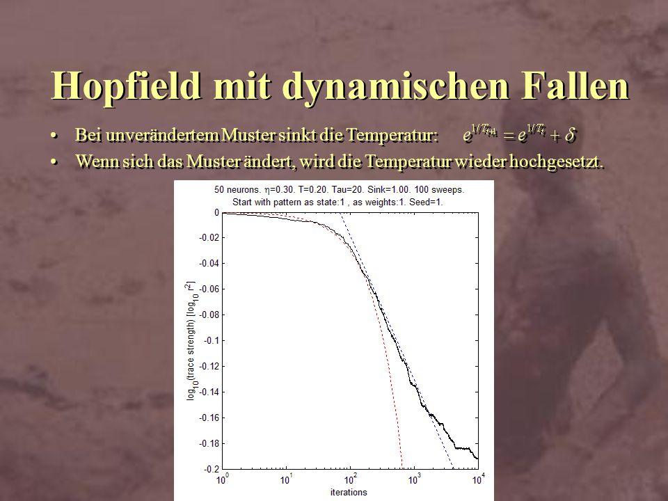 Hopfield mit dynamischen Fallen Bei unverändertem Muster sinkt die Temperatur: Wenn sich das Muster ändert, wird die Temperatur wieder hochgesetzt. Be