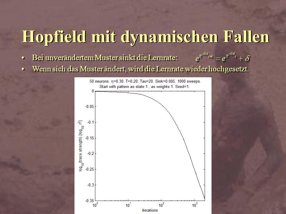 Hopfield mit dynamischen Fallen Bei unverändertem Muster sinkt die Lernrate: Wenn sich das Muster ändert, wird die Lernrate wieder hochgesetzt. Bei un