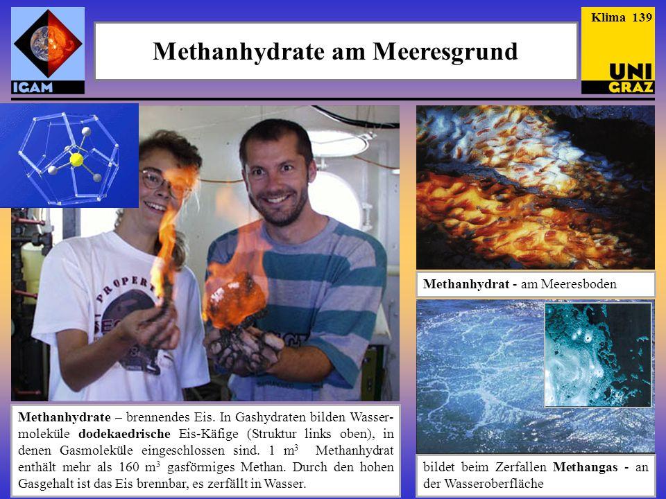 Methanhydrate Quelle: Institut für Meeres-Wissen- schaften der Uni Kiel - GEOMAR Klima 140 Verbreitung Stabilität Struktur