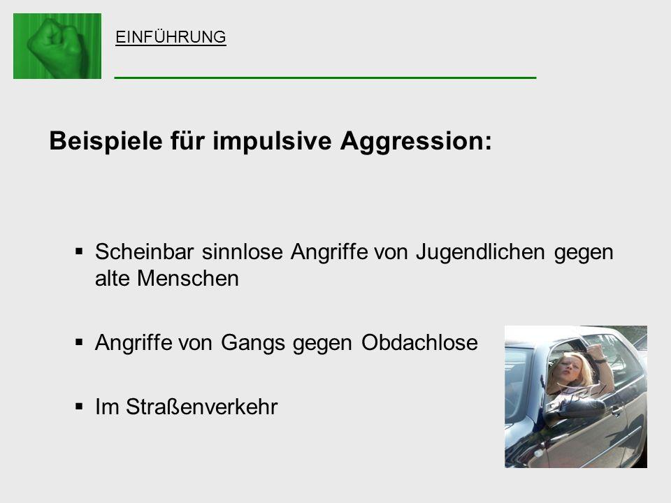 EINFÜHRUNG Beispiele für impulsive Aggression: Scheinbar sinnlose Angriffe von Jugendlichen gegen alte Menschen Angriffe von Gangs gegen Obdachlose Im