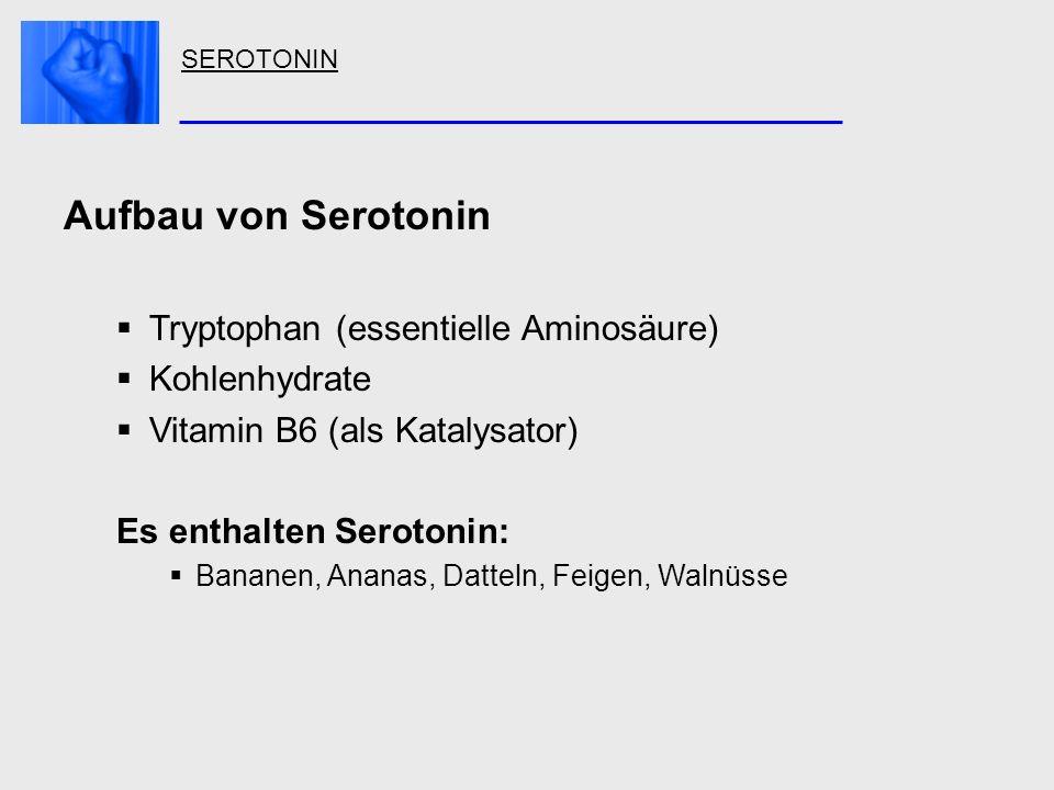 SEROTONIN Aufbau von Serotonin Tryptophan (essentielle Aminosäure) Kohlenhydrate Vitamin B6 (als Katalysator) Es enthalten Serotonin: Bananen, Ananas,
